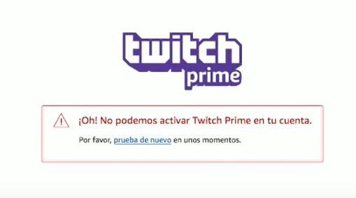 Oh no podemos activar Twitch Prime en tu cuenta