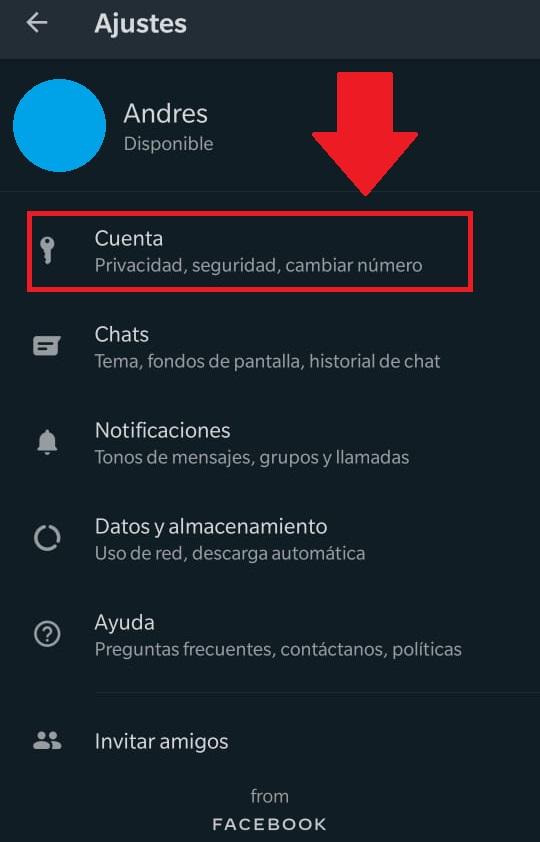 administrar cuenta whatsapp