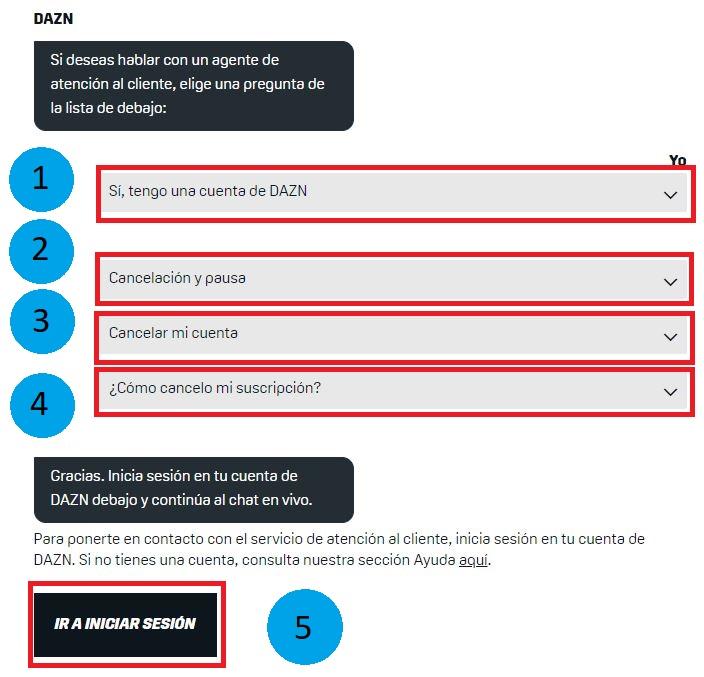 cancelar suscripcion chat en linea