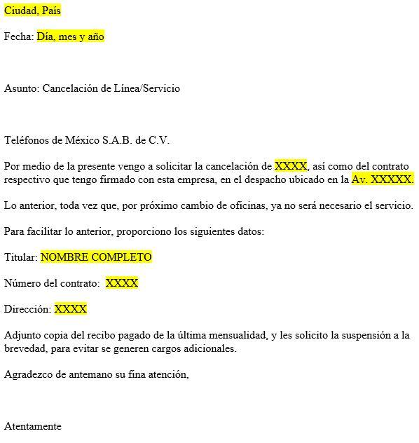 carta para dar de baja telmex