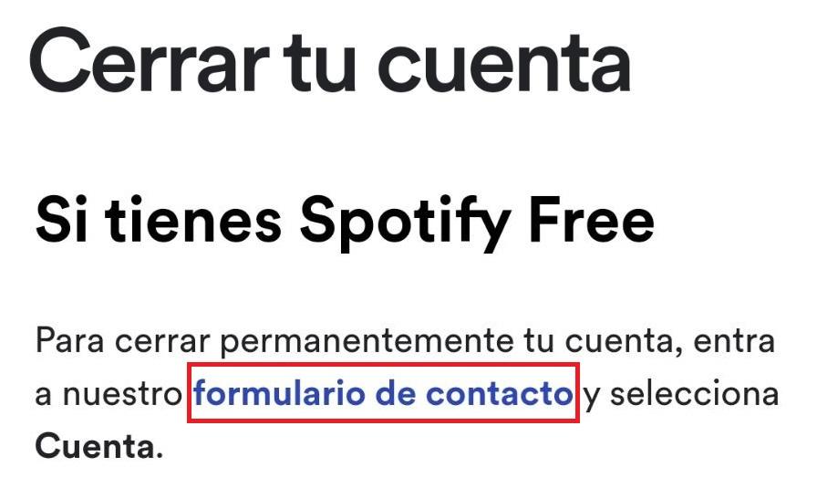 desactivar cuenta spotify