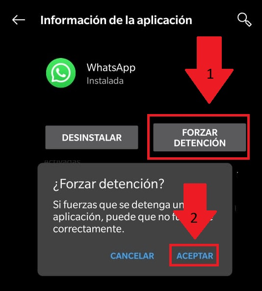 forzar detencion whatsapp